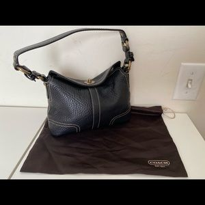 Coach Black Pebbled Leather Mini Purse.